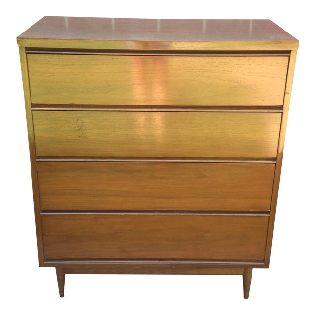 Mid Century Modern 4 Drawer Tallboy Dresser - Image 1 of 5