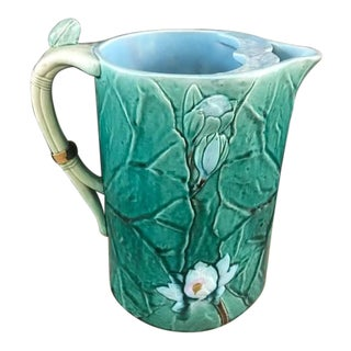 Antique 1870s English Joseph Holdcroft Hand Painted Majolica Pond Lily Pad Green Leaf Half Gallon Pitcher For Sale