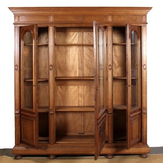 Early 20th Century Vintage French Walnut 3-Door Bookcase Preview