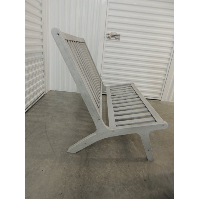 Modern Outdoor Safavieh Weathered Finish Settee For Sale - Image 3 of 10