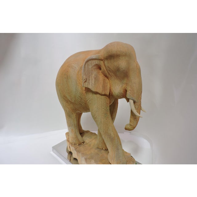 Anonymous Thai Carved Teak Elephant For Sale - Image 4 of 5