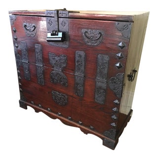 Late 19th Century Antique Oriental Bandaji Blanket Chest For Sale