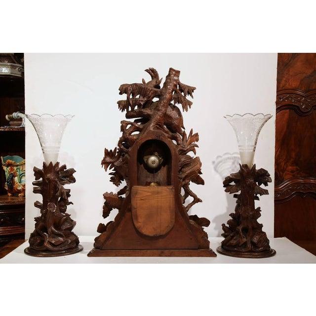 Carved Walnut Black Forest Clock & Matching Vases - Set of 3 For Sale - Image 9 of 10