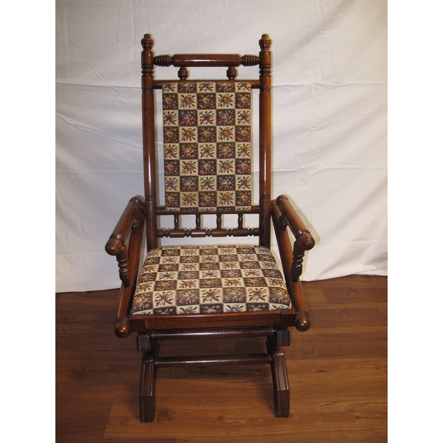 "Vintage Eastlake Victorian spring glider rocking chair Excellent condition  Dimensions: Total measurements: 43"" - Antique Eastlake Victorian Turned Walnut Platform Rocking Chair"