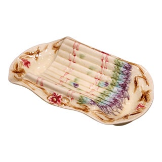 20th Century French Hand Painted Ceramic Barbotine Asparagus Dish For Sale