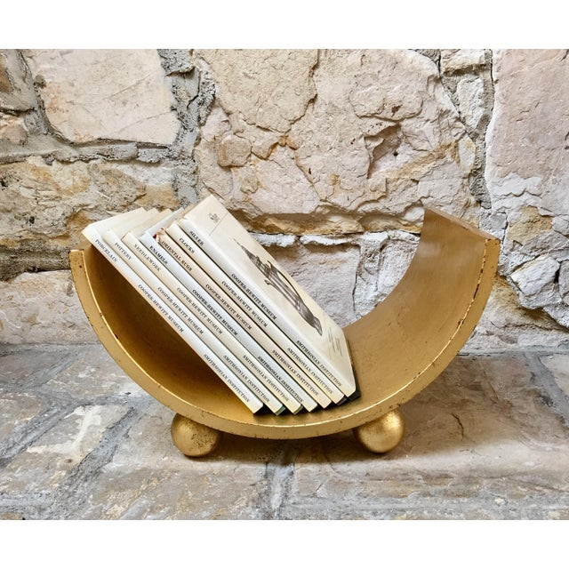 Italian Italian Mid Century Gold Wood Book Holder For Sale - Image 3 of 7