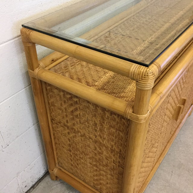 Vintage Bamboo & Wicker Floating Glass Top Credenza Buffet For Sale In Richmond - Image 6 of 12