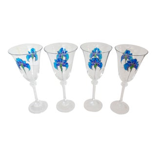 Hand Painted Galway Irish Crystal Wine Glasses - Set of 4