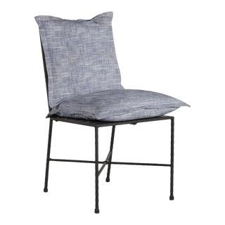 Summer Classics Italia Side Chair in Faded Linen Indigo For Sale