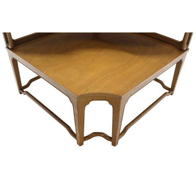 Asian Large Mid Century Modern Inspired Corner Two Tier Step Table For Sale