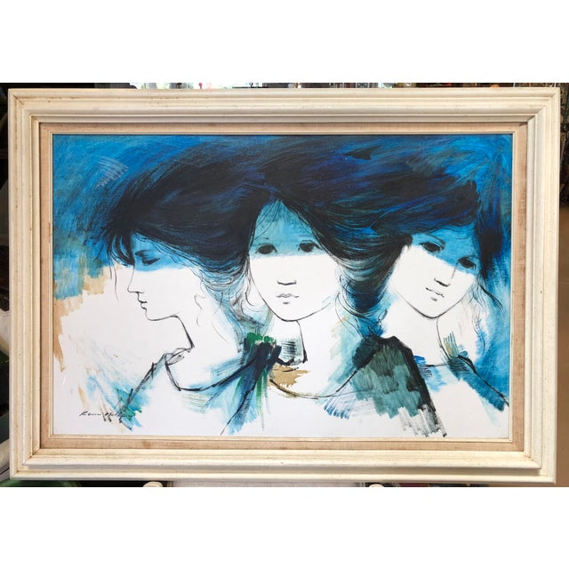 Blue 1970s Vintage Kevin McAlpin Ladies in Blue Oil Painting For Sale - Image 8 of 8