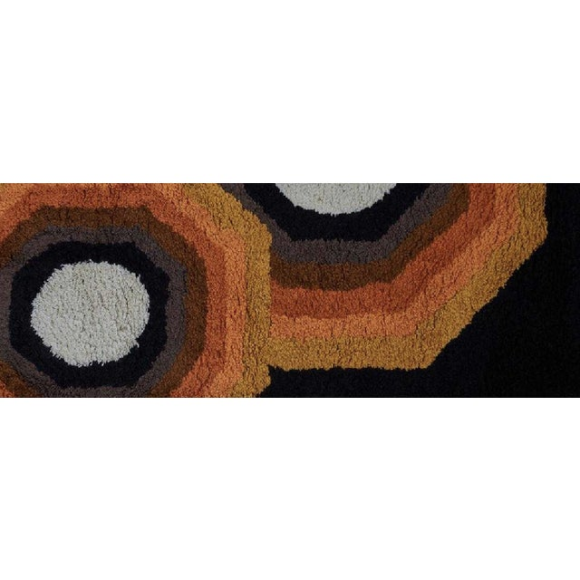 Abstract Rya Wool Area Rug With Kaleidoscopic Pattern, Finland 1960s. For Sale - Image 3 of 4