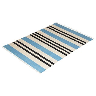 Dittany Rug, 8x10, Baby Blue & Black For Sale