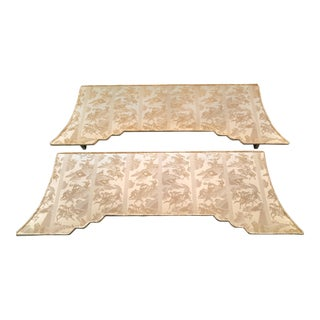 Imported Fabric Cornice Boards - A Pair For Sale