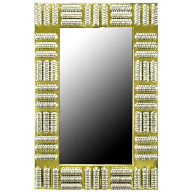 Metal Circa 1970s Brass & Spun Aluminum Custom Wall Mirror in the Manner of C.Jere For Sale - Image 7 of 7