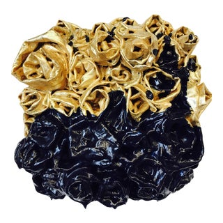 """Gold Rosettes Dipped in Blue"" Wall Sculpture by Chloe Hedden For Sale"