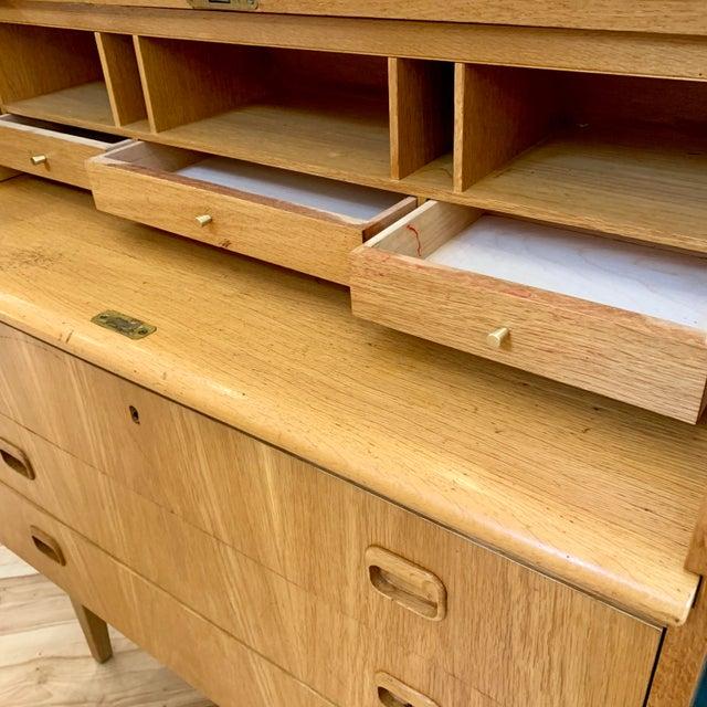 Tan 1960s Swedish Modern Teak Rolltop Desk For Sale - Image 8 of 13