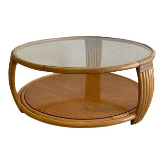 Paul Frankl Style Rattan Round Coffee Table For Sale