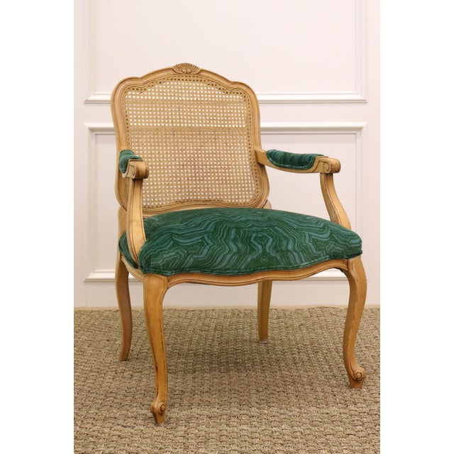 Century Furniture Malachite Velvet Century Brand Caned French Chairs - a Pair For Sale - Image 4 of 11