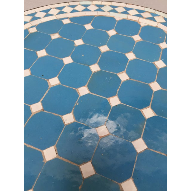 Moroccan Mosaic Outdoor Blue Tile Side Table on Low Iron Base For Sale - Image 11 of 13