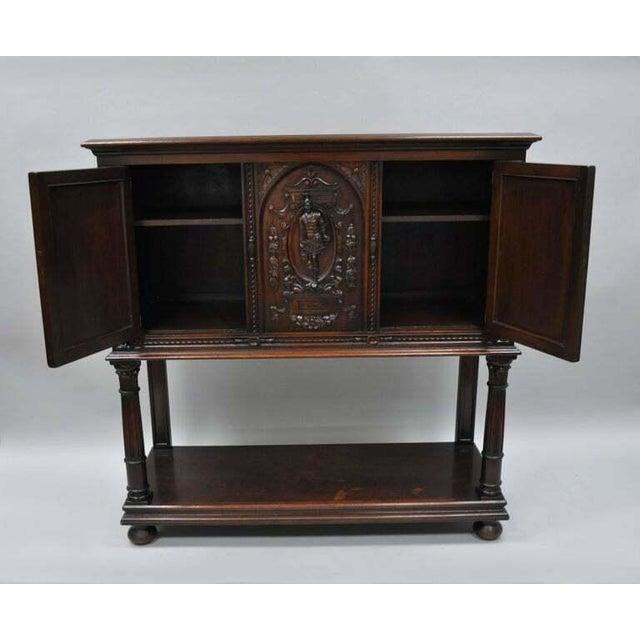 Antique Renaissance Revival Figural Carved Walnut Cabinet For Sale - Image 4 of 11