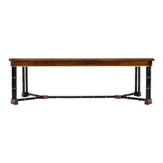 Rosewood Black Lacquer Rectangular Faux Bamboo Coffee Table Beveled Glass Top For Sale