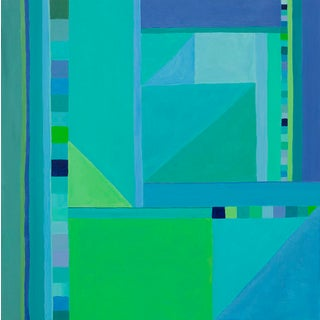 Abstract Square Painting in Blues and Greens For Sale