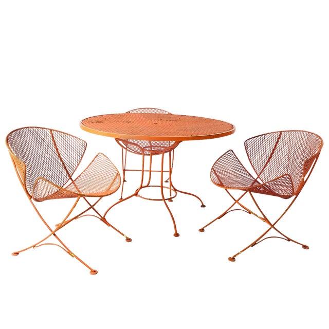 """Set of Three Mid-Century Salterini """"Orange Slice"""" Chairs & Table Orange Metal Patio Set For Sale"""