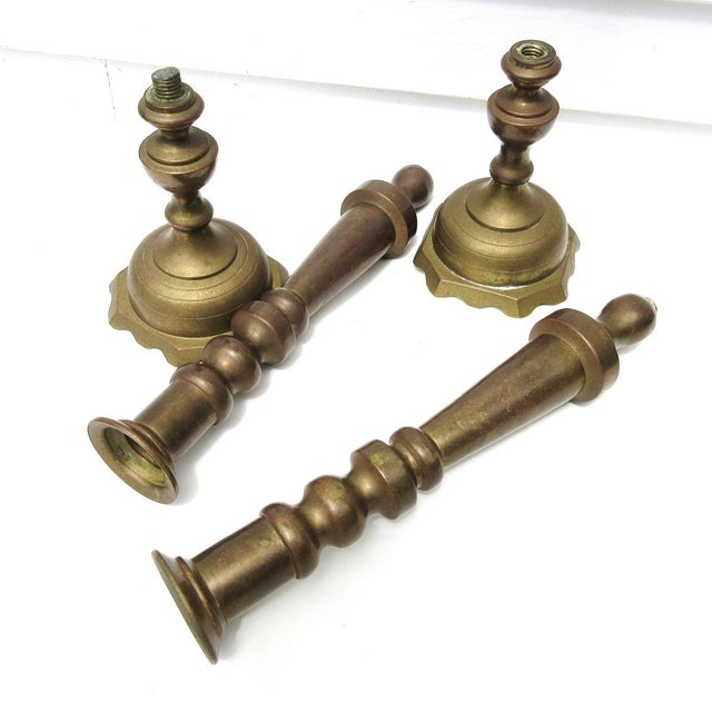 Vintage Tall Brass Candle Holders - A Pair - Image 3 of 7