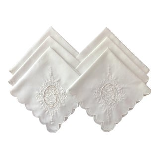 White Scalloped and Embroidered Napkins- Set of 6 For Sale