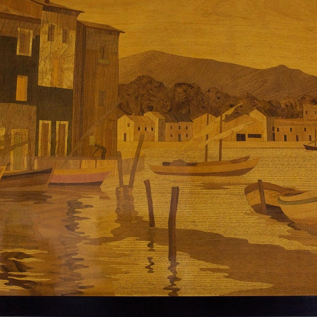 1940s Large Decorative Panel by Rosenau, Fishing Port Scene, Marquetry, France For Sale - Image 6 of 7