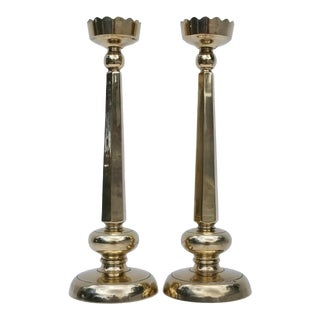 Vintage Solid Brass Candle Holders - a Pair For Sale