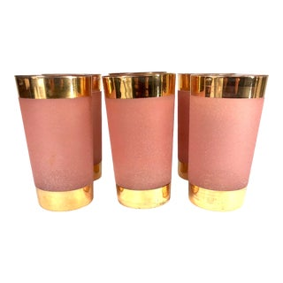Vintage Pink and Gold Textured Highball Glasses - Set of 6 For Sale