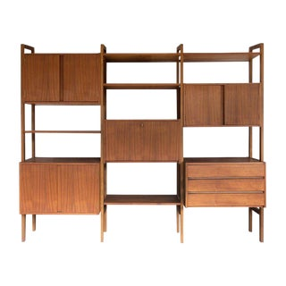1960s Danish Modern Walnut Modular Wall Unit For Sale