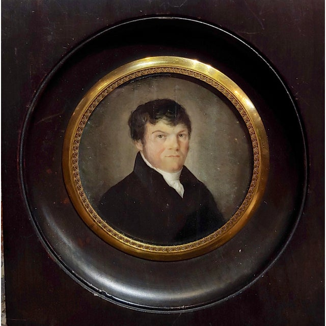 Realism 18th Century English School Husband & Wife Portraits Miniature Paintings - a Pair For Sale - Image 3 of 10