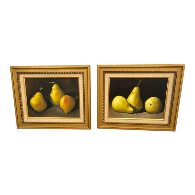 Realistic Still Life Paintings of Pears - a Pair For Sale