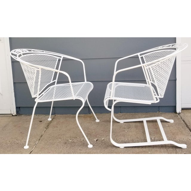 "1960s Vintage Woodard ""Daisy Bouquet "" Wrought Iron Barrel Back Patio Chairs For Sale - Image 5 of 11"