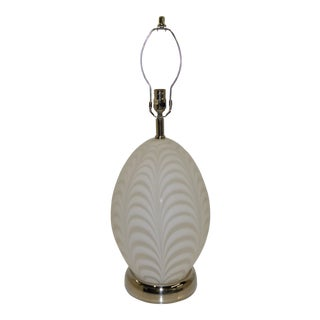 Modern Murano White Art Glass Lamp With Inner Light For Sale