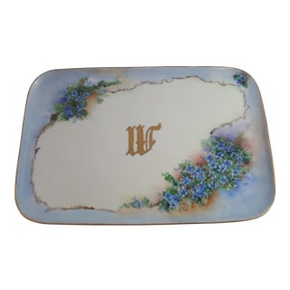 Floral Monogrammed Limoges Tray For Sale
