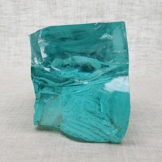 Aqua Slag Glass Sculpture For Sale In Dallas - Image 6 of 8