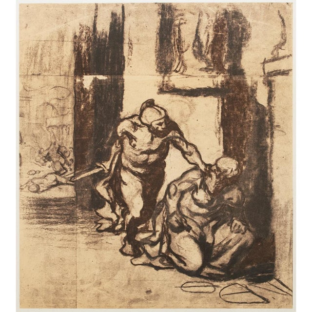 """An excellent large vintage lithograph after chalk drawing Archimedes by Honoré Daumier. Original artwork is 16 and 15/16""""H..."""