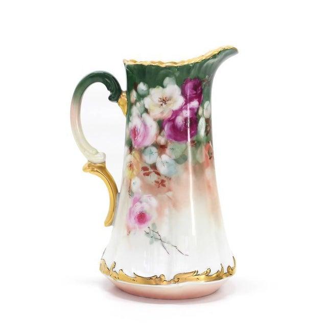 Ceramic T&V France Floral Vase Shape Flower Painted Porcelain Pitcher For Sale - Image 7 of 8