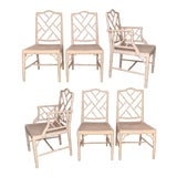 Image of Chinese Chippendale Faux Bamboo Dining Chairs - Set of 6 For Sale