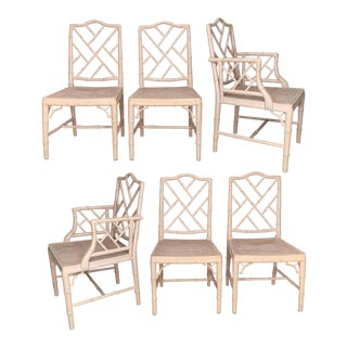 Chinese Chippendale Faux Bamboo Dining Chairs - Set of 6 For Sale