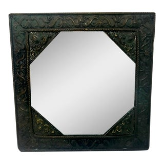 Antique Beveled Hexagon Brass & Metal Mirror For Sale