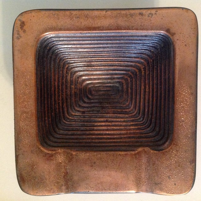 Brutalist Ben Seibel Copper Square Ashtray For Sale - Image 3 of 6
