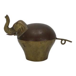 Mid-Century Brass Elephant Trinket Box For Sale