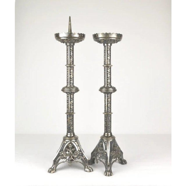 Renaissance Silvered Alter Prickets - a Pair For Sale - Image 3 of 10