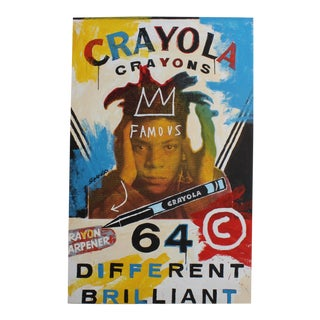 """Vintage 2018 John Stango Pop-Art Painting """"Basquiat Crayola"""" Acrylic Over Serigraph Printed Canvasi For Sale"""