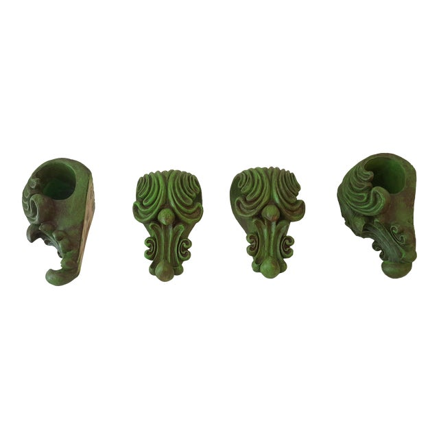 Green Curtain Rod Sconces - 4 - Image 1 of 5